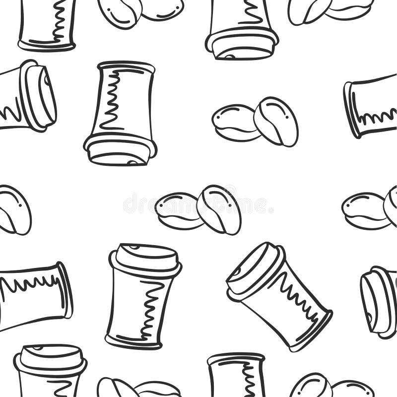 Caffè di tiraggio della mano degli scarabocchi illustrazione di stock