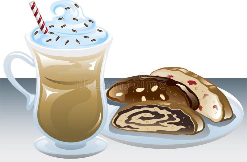 Caffè e biscotti ghiacciati royalty illustrazione gratis