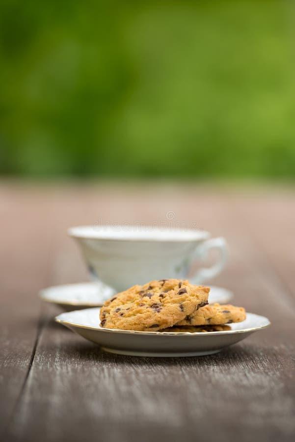 Caffè e biscotto in giardino fotografie stock