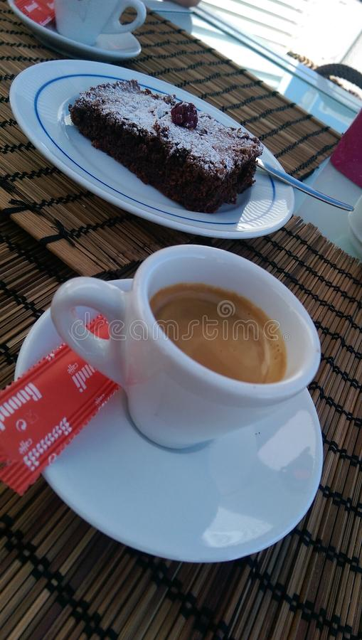 Caffè e brownie fotografia stock