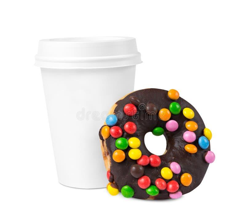 Caffè e ciambella da andare fotografie stock libere da diritti
