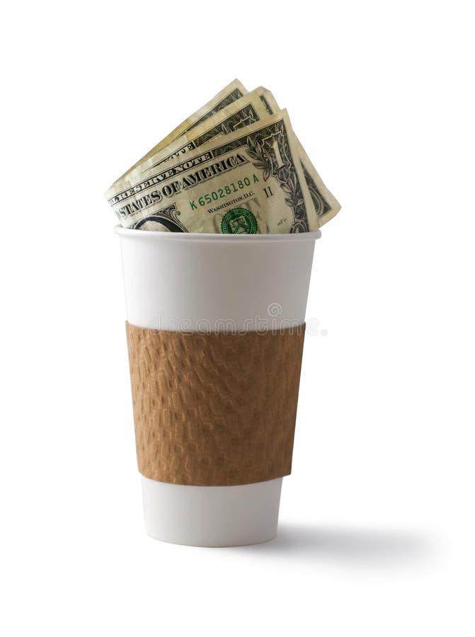 Caffè e contanti fotografie stock