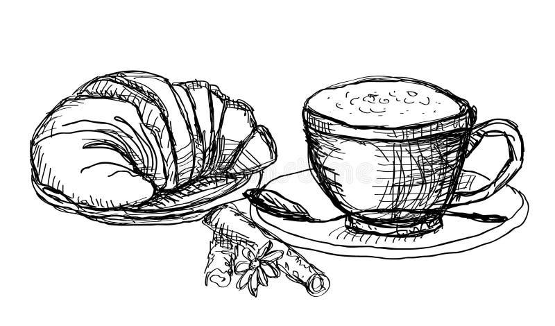 Caffè e croissant illustrazione di stock