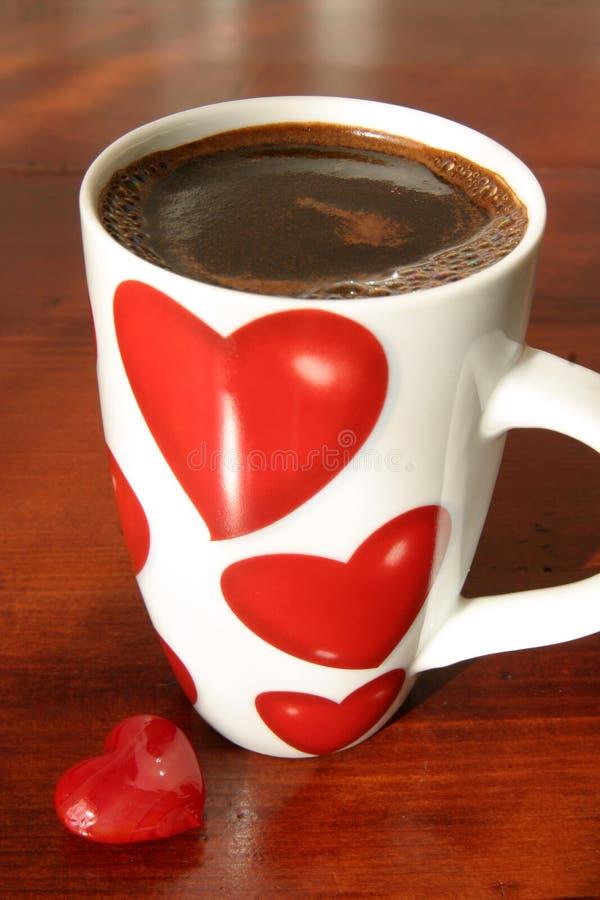 Caffè e cuori fotografie stock