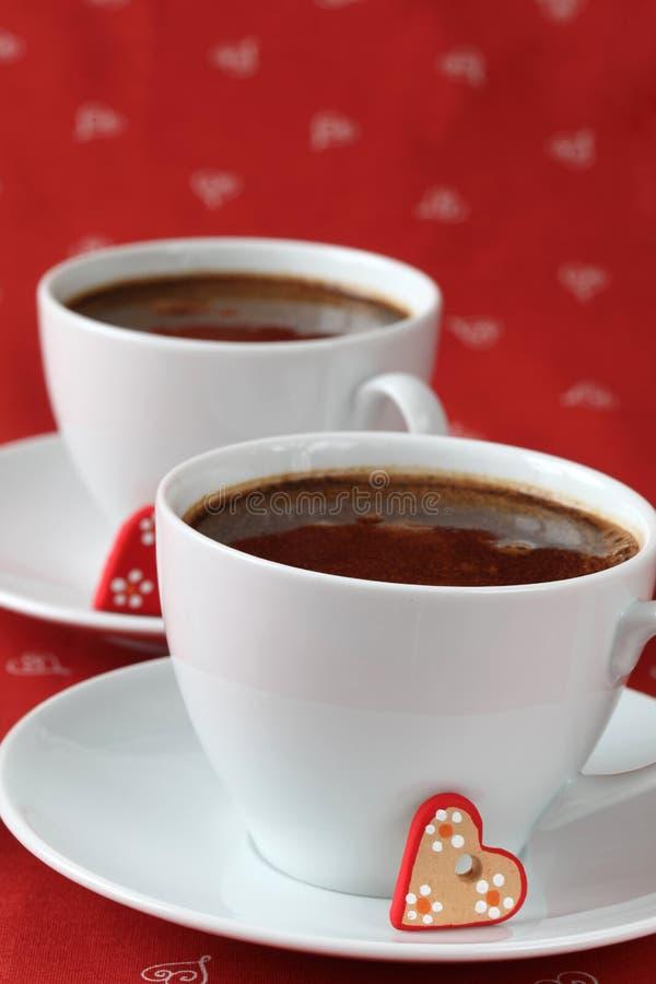 Caffè e cuori fotografie stock libere da diritti