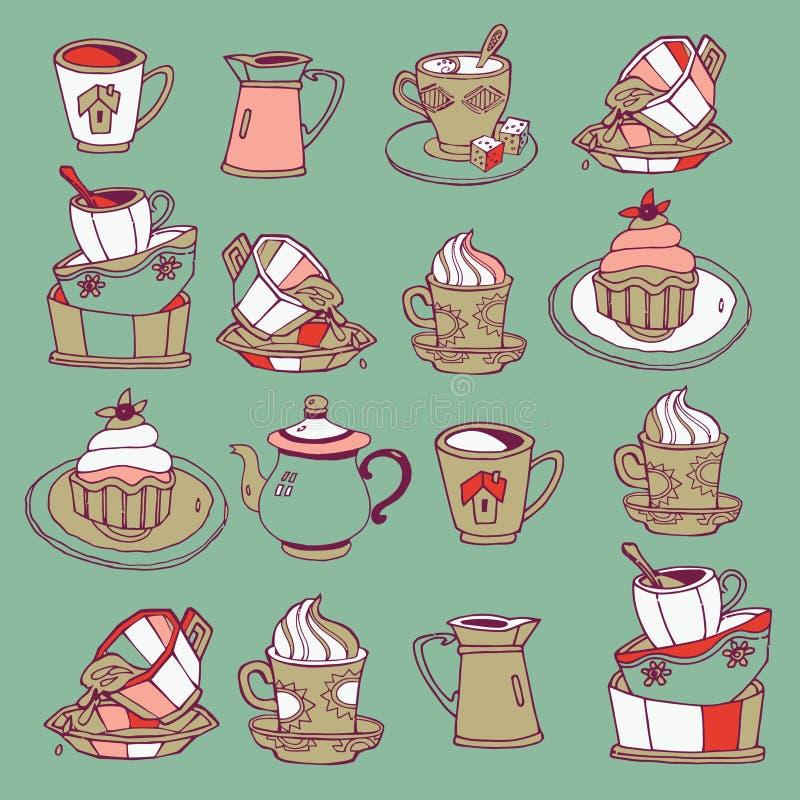 Caffè e dessert   illustrazione vettoriale