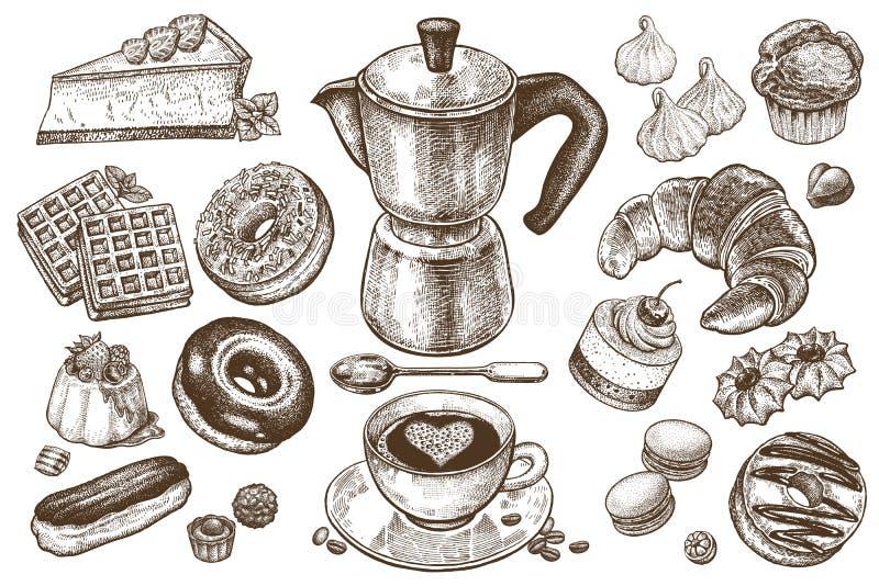 Caffè e dessert messi illustrazione vettoriale