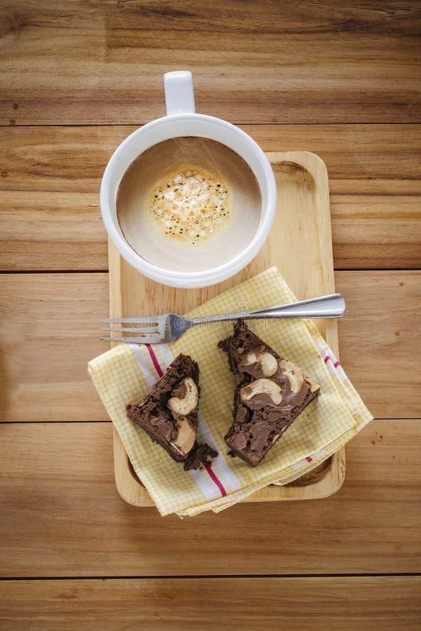 Caffè e dolce dei brownie immagini stock libere da diritti