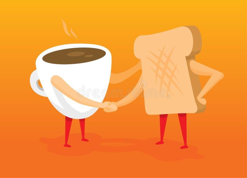 Caffè e pane tostato che stringono le mani illustrazione di stock