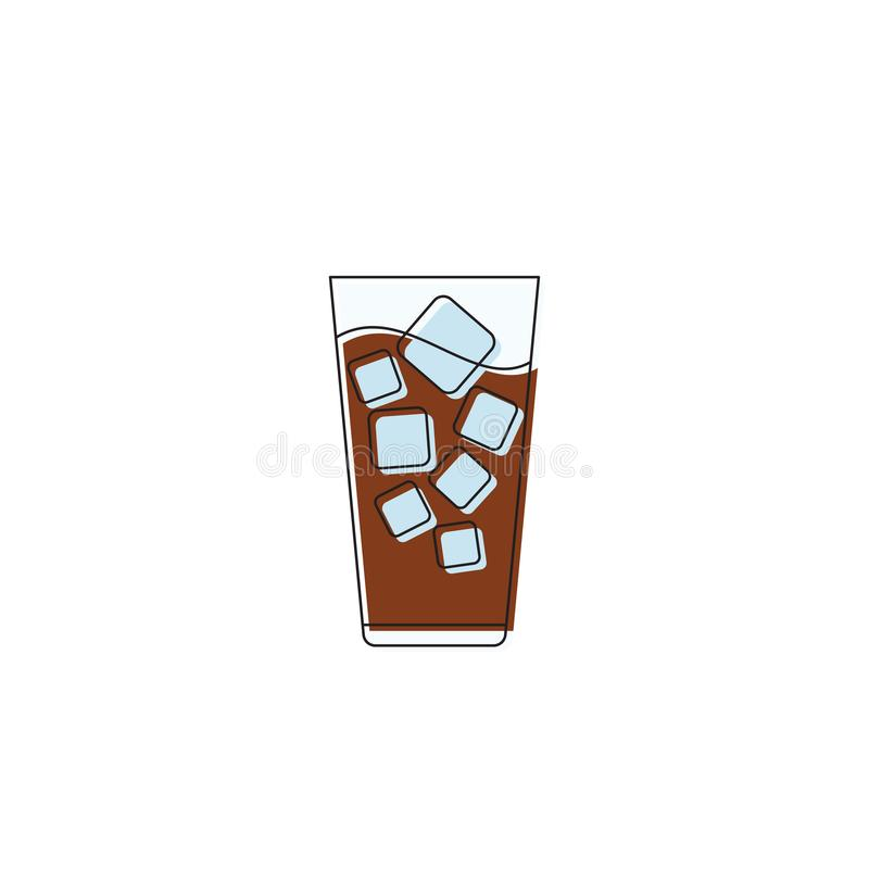 Caffè freddo con icona cubetti di ghiaccio simbolo del vettore bevanda isolata su fondo bianco illustrazione vettoriale
