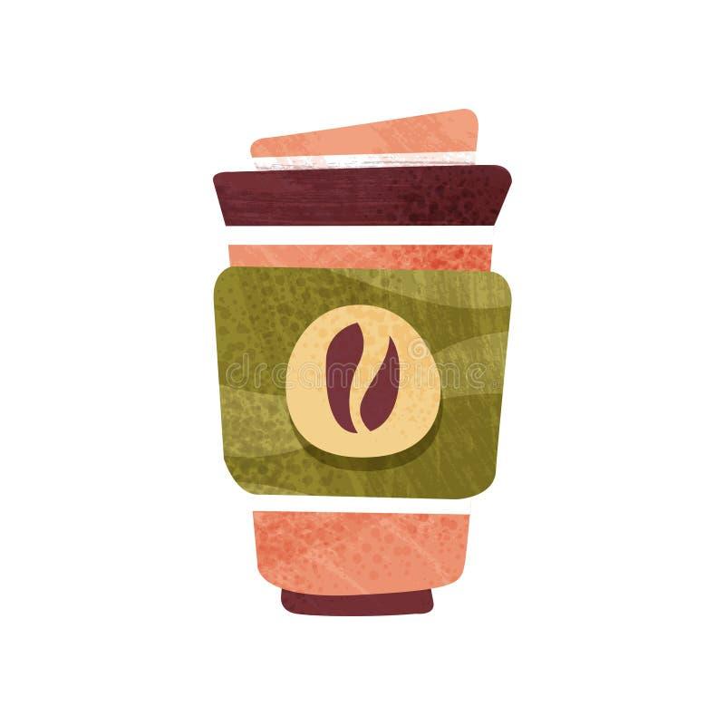 Caffè fresco in grande tazza di plastica con il coperchio Bevanda calda Bevanda saporita Progettazione piana di vettore con strut royalty illustrazione gratis