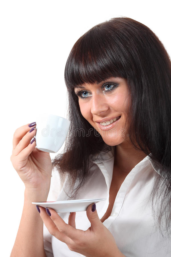 Caffè grazioso della bevanda di woomen degli occhi azzurri fotografie stock libere da diritti