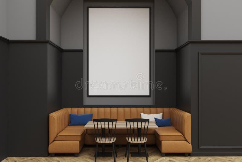 Caffè grigio, manifesto, sofà illustrazione vettoriale