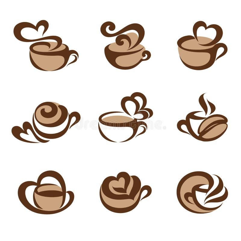 Caffè. Insieme del modello di marchio di vettore. illustrazione vettoriale