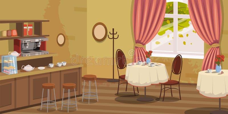 Caffè, interno, scaffale, sedie, macchina del caffè, tavole, vettore, illustrazione, stile del fumetto, isolato royalty illustrazione gratis