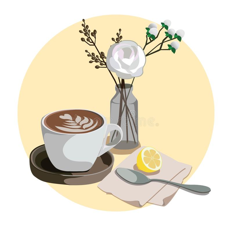 Caffè Latte - The Coffee-Milk Art stock illustration