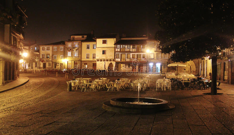 Caffè libero, notte Braga portugal immagine stock libera da diritti
