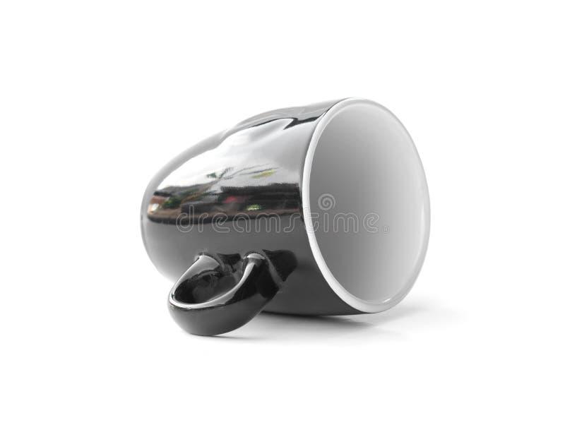 Caffè nero con design semplice e isolato su fondo bianco fotografia stock