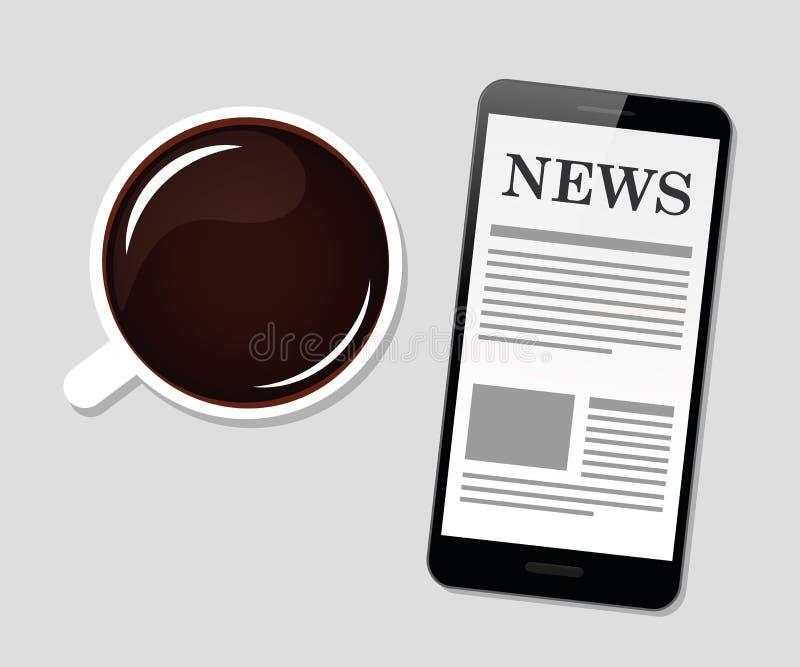 Caffè nero e notizie di buongiorno illustrazione vettoriale