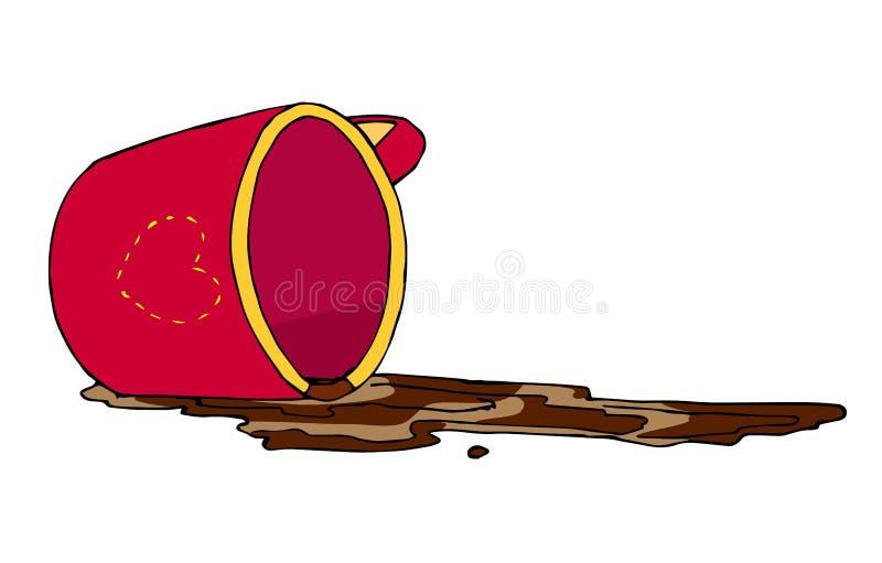 Caffè rovesciato e tazza rossa invertita fotografia stock libera da diritti