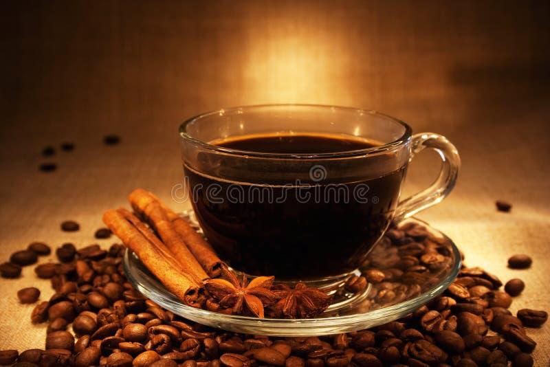 Caffè scuro con cannella fotografia stock libera da diritti