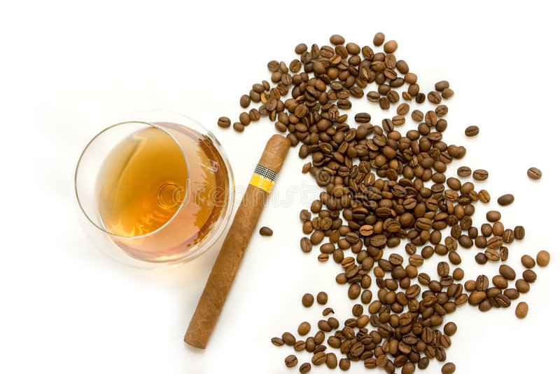 Caffè, sigaro e cognac fotografia stock