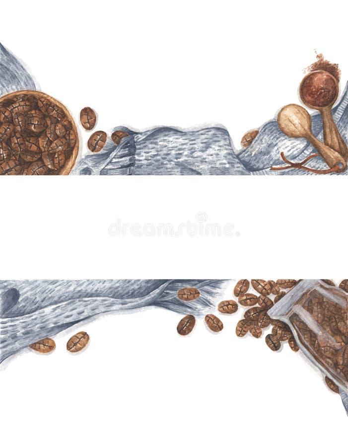 Caffè sparso di bottiglia di vetro e di ciotola, polveri macinate su cucchiai di legno con sciarpa a maglia Disegno Watercolor immagine stock