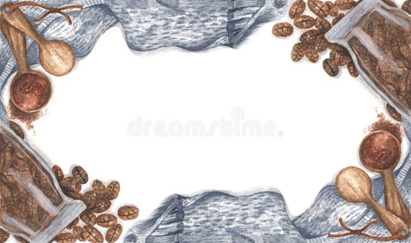 Caffè sparso di bottiglia di vetro, polveri macinate su cucchiai di legno con sciarpa a maglia Disegno Watercolor fotografia stock