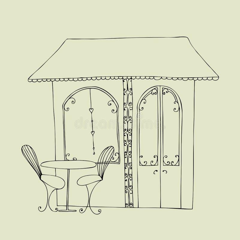 Caffè sveglio illustrato della via royalty illustrazione gratis