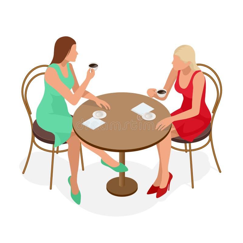 Caffè Tè bevente o caffè della bella ragazza in caffè Bellezza Woman di modello con la tazza della bevanda calda Colori caldi royalty illustrazione gratis