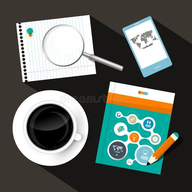 Caffè - taccuino - telefono cellulare e libro o opuscolo illustrazione vettoriale