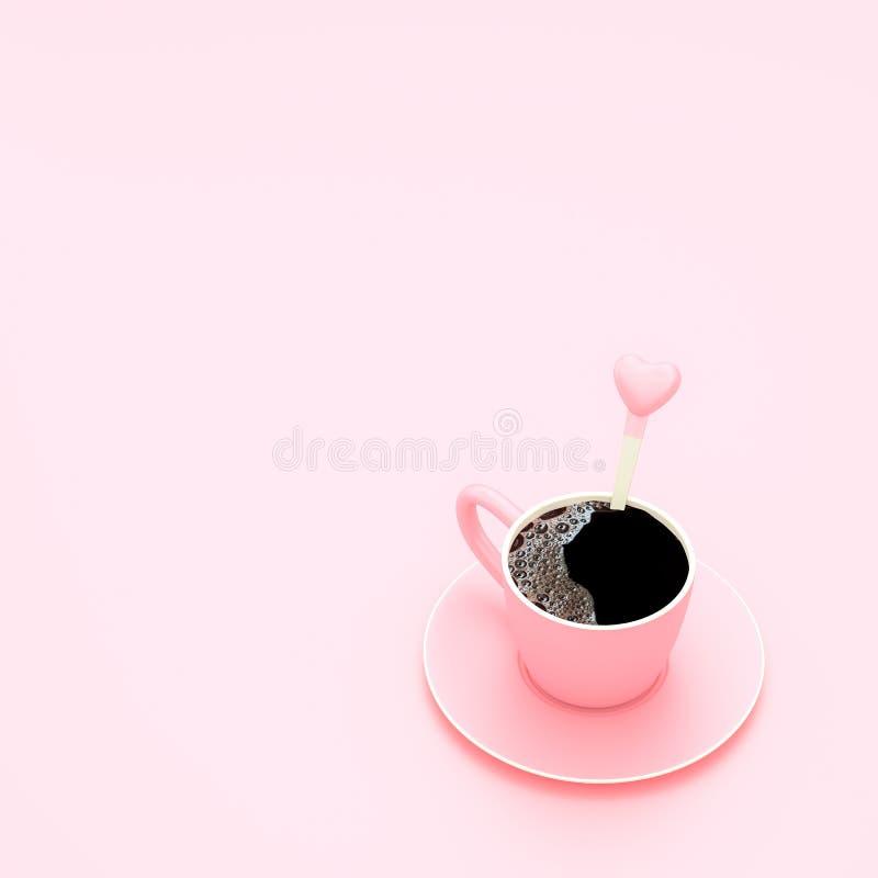 Caffè in tazza sul concetto minimo del fondo pastello rosa illustrazione di stock