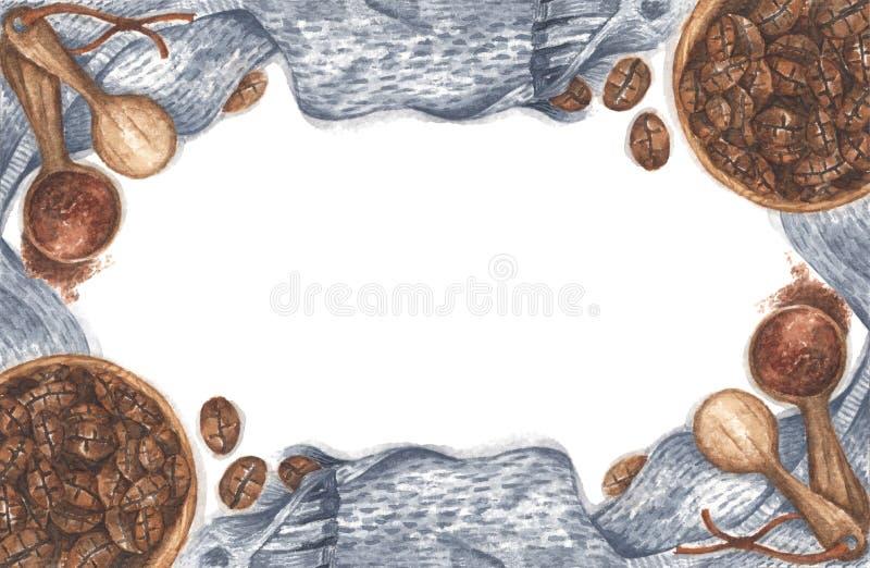 Caffè in una ciotola, polveri macinate su cucchiai di legno con sciarpa a maglia Disegno Watercolor immagini stock libere da diritti