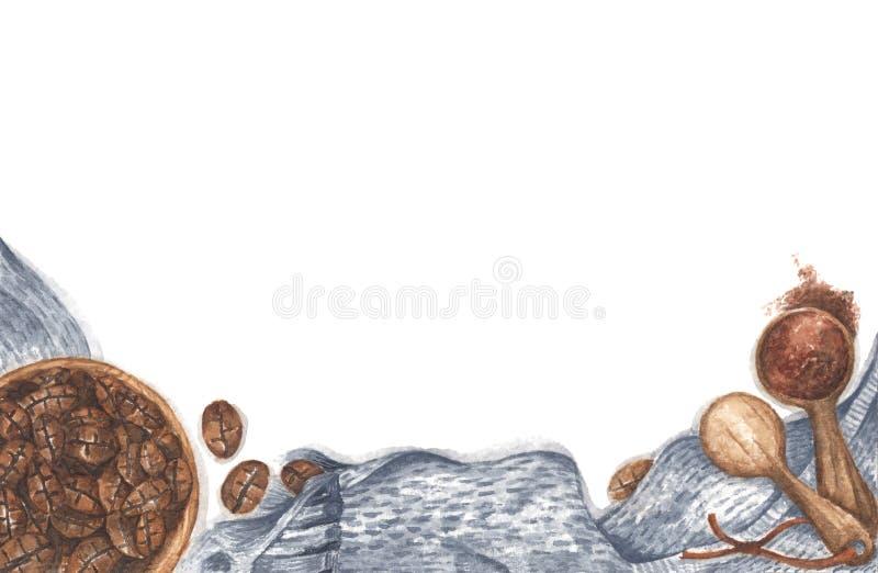 Caffè in una ciotola, polveri macinate su cucchiai di legno con sciarpa a maglia Disegno Watercolor fotografia stock