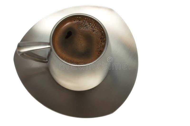 Caffè in una tazza del metallo fotografia stock libera da diritti