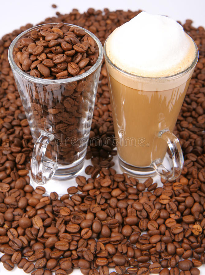 Download Caffe Latte And Coffee Beans Stock Photo - Image of agriculture, fragrant: 15851210