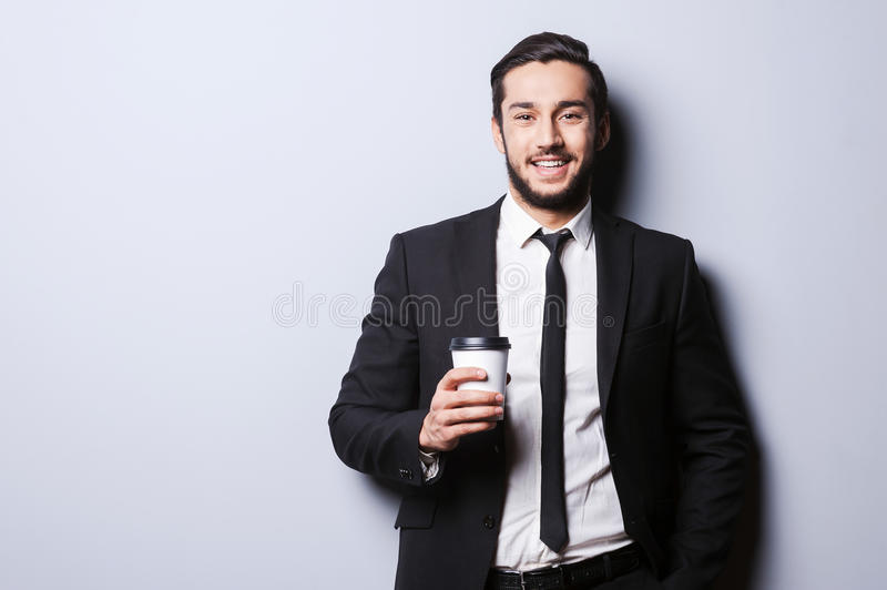 Caffeine for charging before working. royalty free stock photography