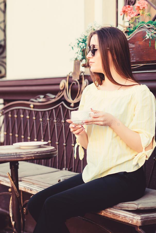 Caffeine dose. Coffee for energetic successful day. Breakfast time in cafe. Girl enjoy morning coffee. Waiting for date royalty free stock image