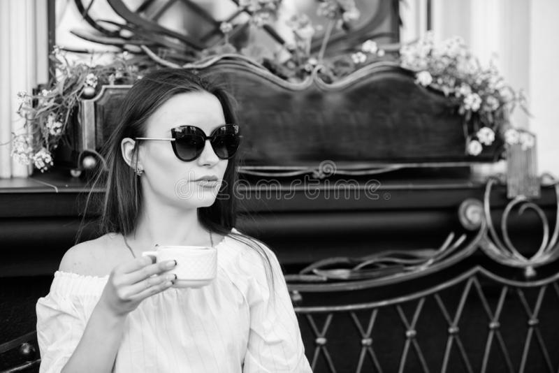 Caffeine dose. Coffee for energetic successful day. Breakfast time in cafe. Girl enjoy morning coffee. Woman drink royalty free stock images