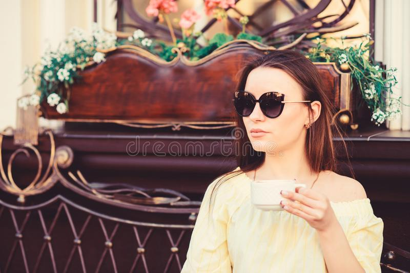 Caffeine dose. Coffee for energetic successful day. Breakfast time in cafe. Girl enjoy morning coffee. Woman drink royalty free stock photos