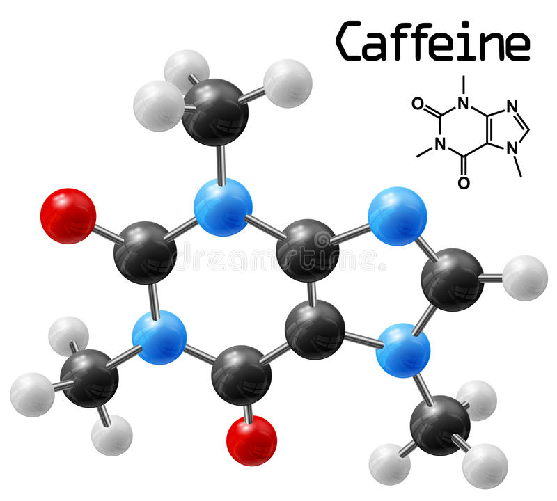 Caffeine molecule royalty free illustration