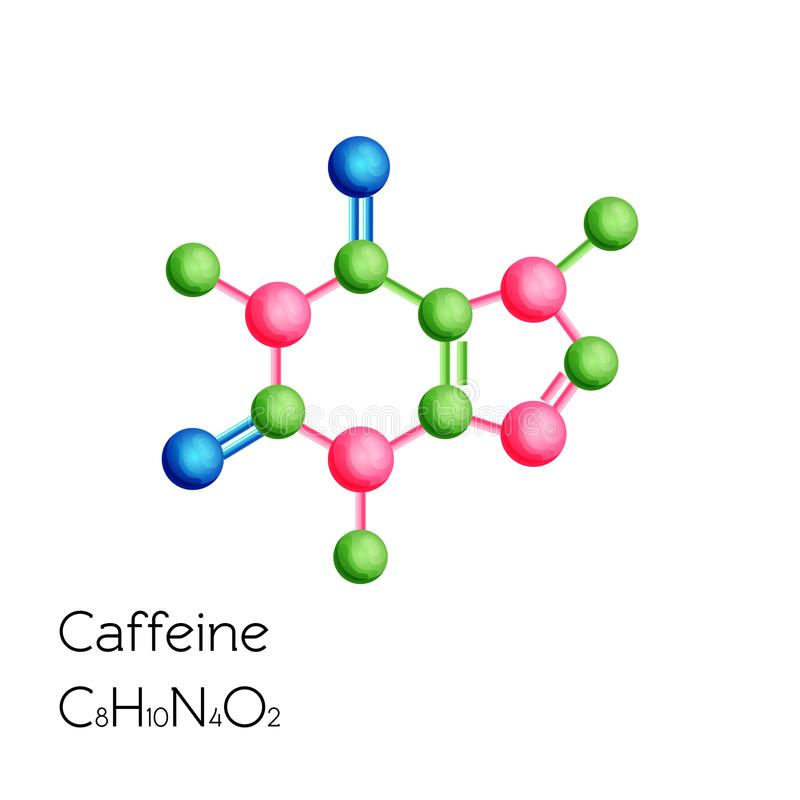 Caffeine structural chemical formula isolated on white background. royalty free illustration