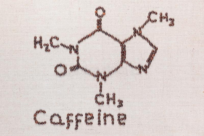 Caffeine text and formula from coffee beans on linea texture royalty free stock photography