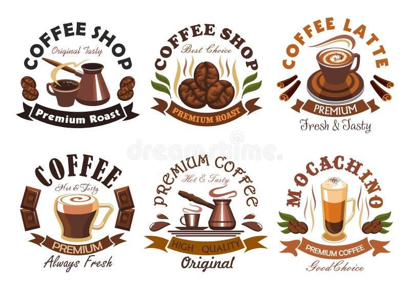 Caffetteria, emblemi dell'etichetta del caffè messi illustrazione di stock