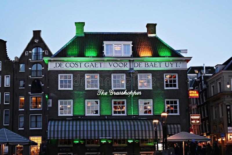 Caffetteria famosa della cannabis, la cavalletta a Amsterdam immagini stock libere da diritti