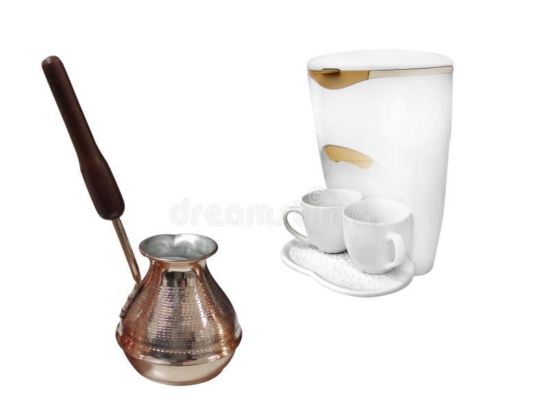 Caffettiera a filtro e coffeepot compatti immagine stock libera da diritti
