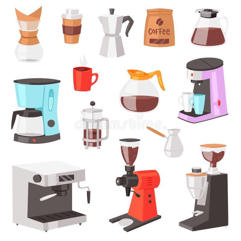 Caffettiera a macchina e caffè-macchina di vettore del caffè per la bevanda del caffè espresso con caffeina nell'insieme dell'ill illustrazione vettoriale