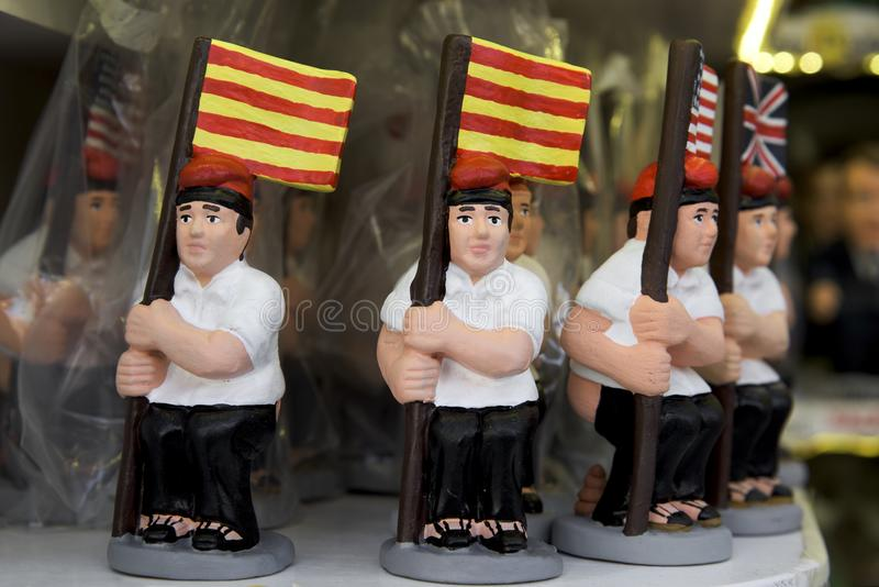 Caganer, catalan character in the nativity scenes. Some caganer, a typical catalan character in the nativity scenes of catalonia, spain, depicting a catalan stock image