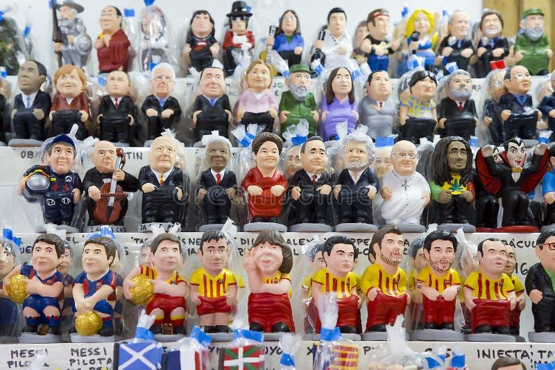 Caganers i den Santa Llucia mässan, Barcelona royaltyfria bilder