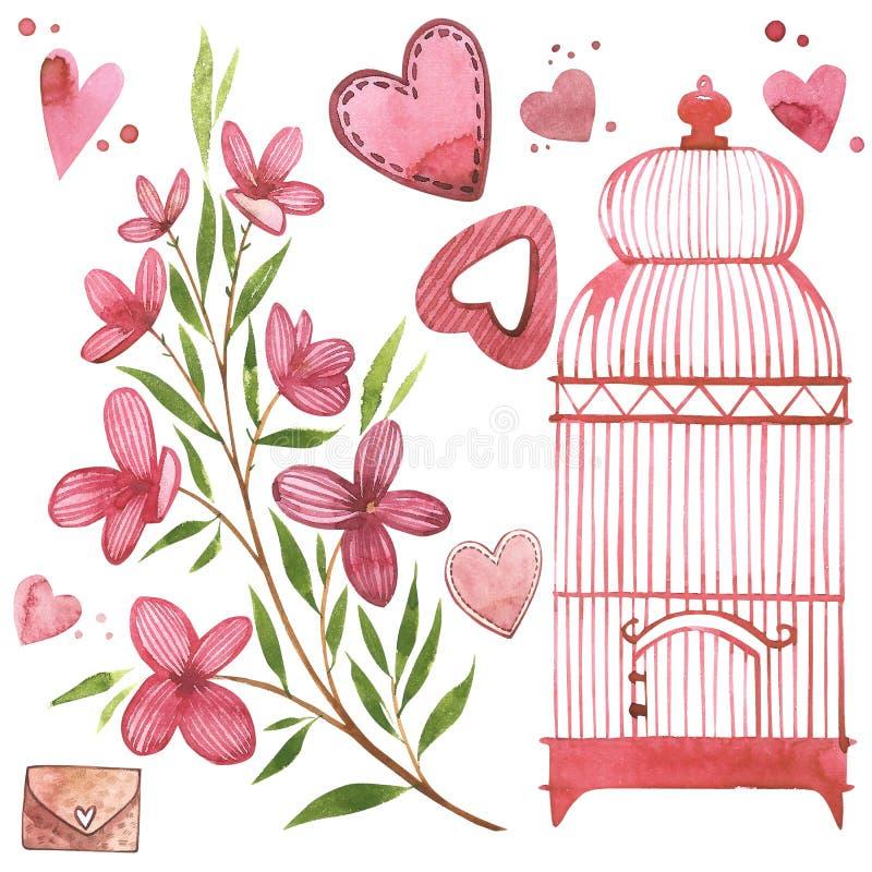 Cage à oiseaux avec des fleurs Ensemble de rose d'aquarelle d'éléments pour le jour du ` s de Valentine Éléments de conception d' illustration libre de droits